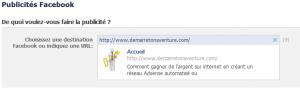 site publicité facebook