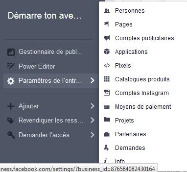 paramètre de l'entreprise facebook